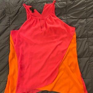 Pink and orange asymmetrical halter tank top